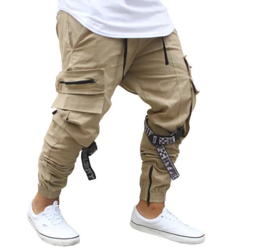 Calça masculina com bolsos laterais bege