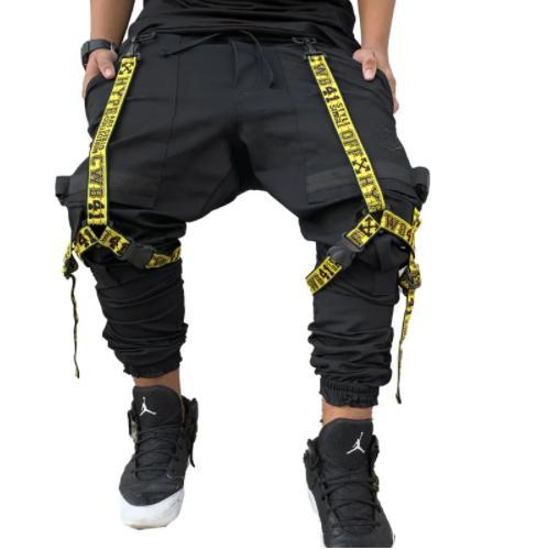 Calça cargo masculina streetwear preta